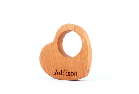Wooden Heart Rattle Present For One Year Old Smiling Tree Toys Wooden Toys