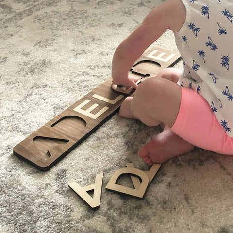 wooden name puzzle | educational wooden toys by Smiling Tree Toys