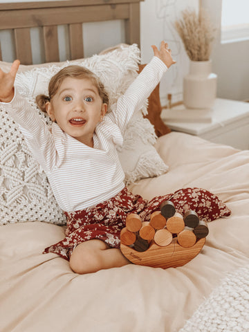 Smiling Moon Balancer educational wood toy for toddlers handmade in USA gift ideas @marinaaafranco Smiling Tree Toys-6