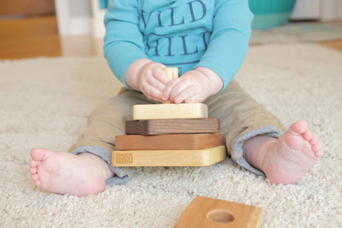 Square Stacker wood stacking toy for babies and toddlers educational gift for babies birthday gift for one year olds Smiling Tree Toys