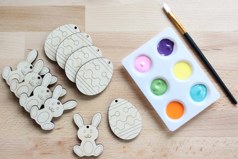 color-your-own Easter ornaments