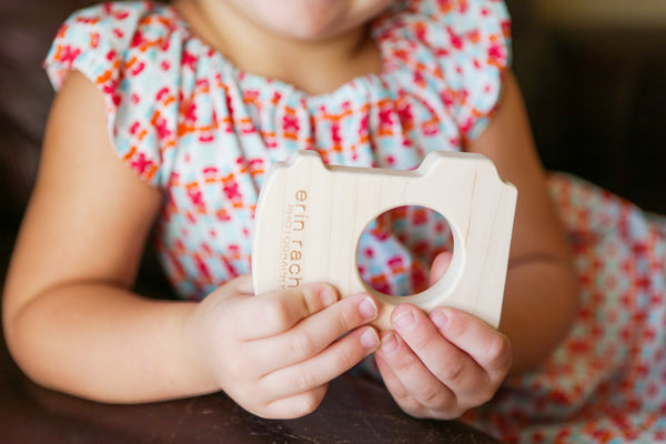 custom camera toy wood teether - newborn photographer client gift