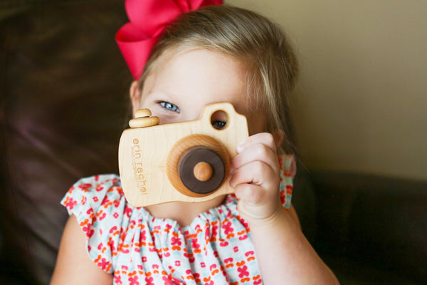 custom engraved wooden camera toy for photography client gift