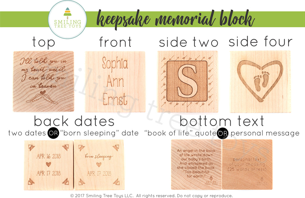 Memorial Keepsake Block gift for miscarriage stillbirth babies