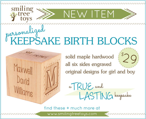 Smiling Tree Toys | Personalized Birth Block