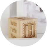 natural wooden toy keepsake block personalized and handmade in the usa