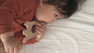 handmade wooden teether toy for baby natural teething relief