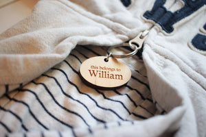 wooden coat zipper ID tag