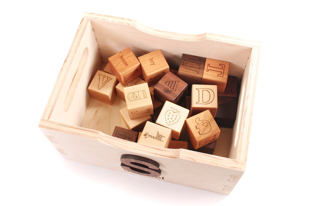 handmade wooden box for blocks by Smiling Tree Toys