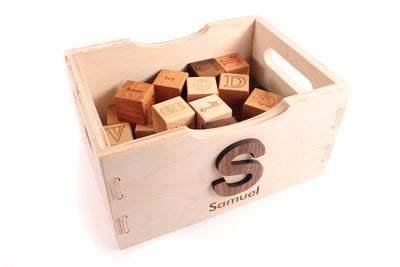 wooden toy crate to hold blocks