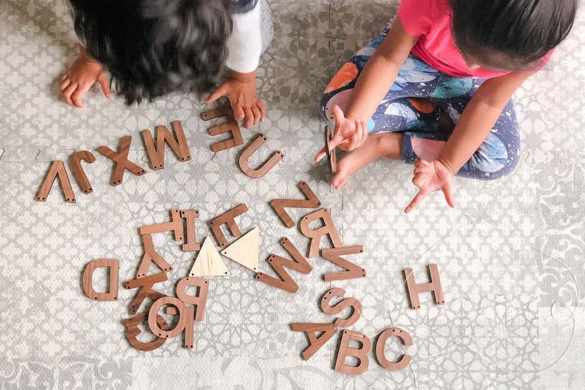 wooden abc alphabet wall decor playroom reading space sign Smiling Tree Toys