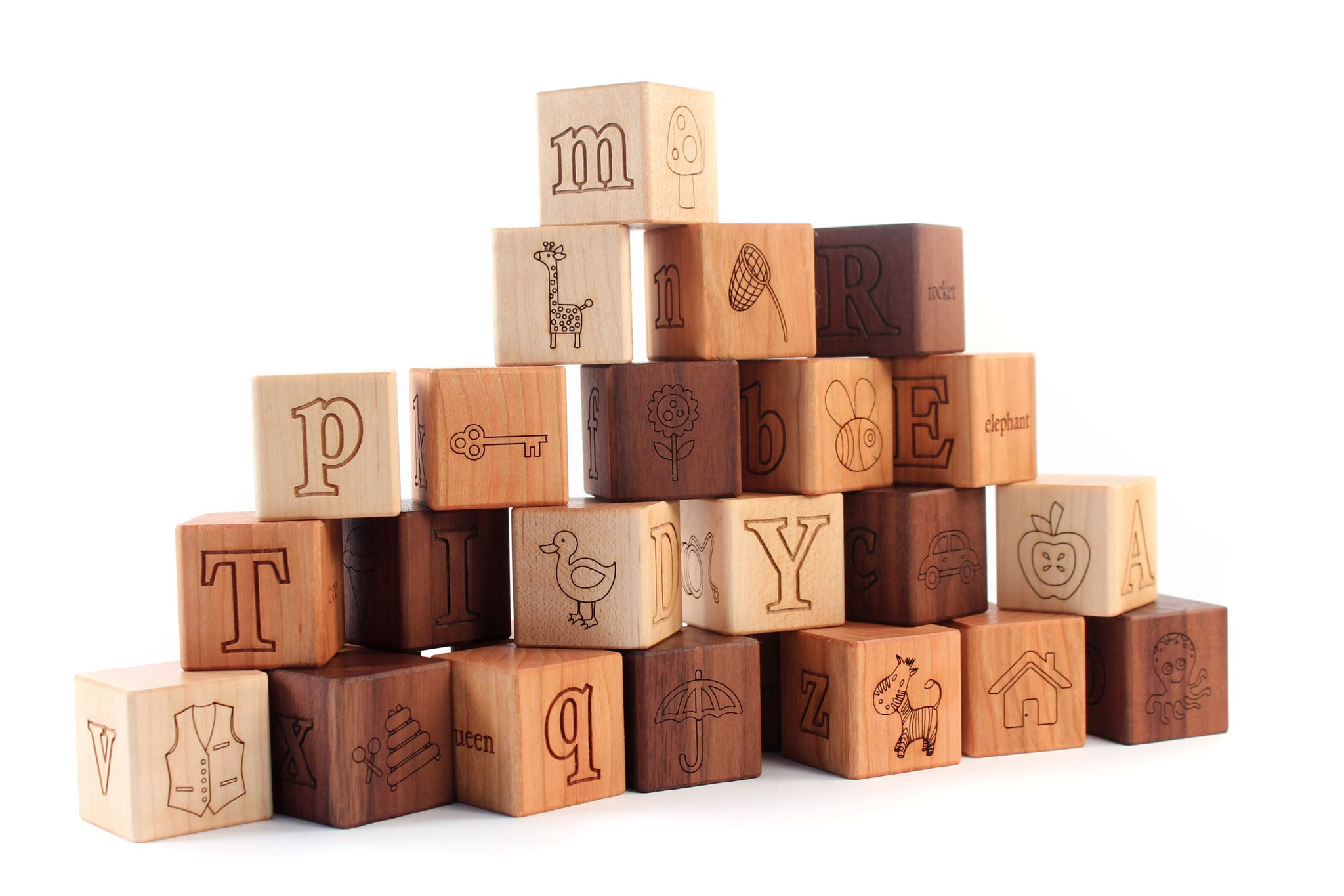 wooden picture alphabet blocks Smiling Tree