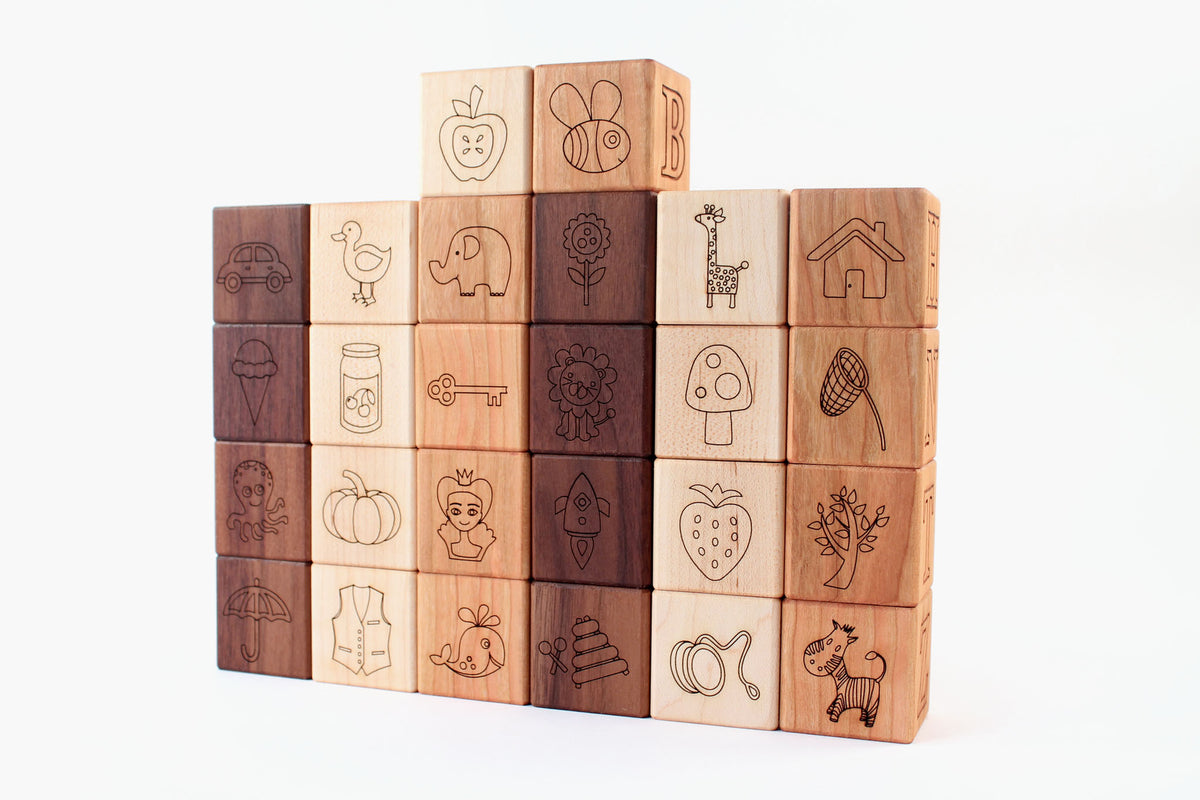 all natural wooden picture alphabet blocks