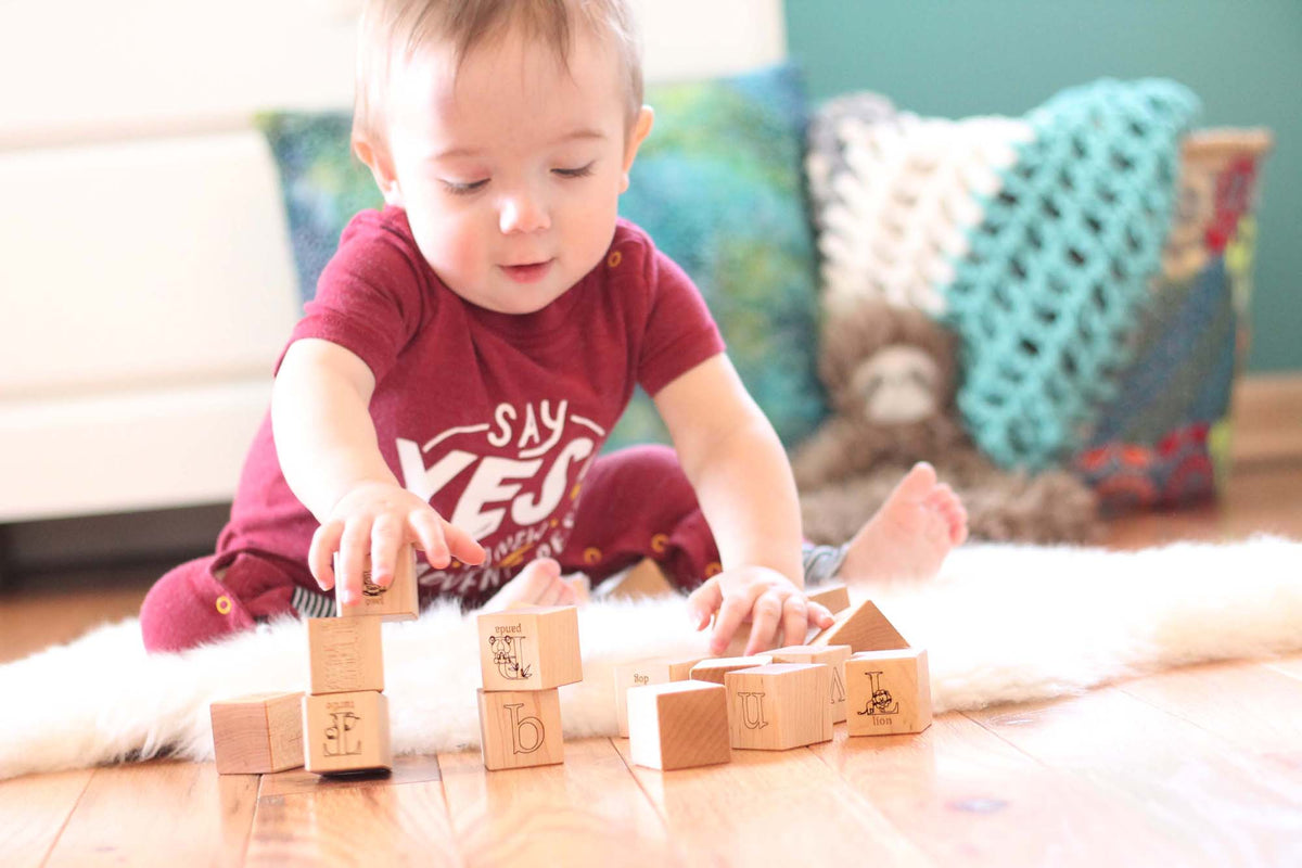 organic wooden toy alphabet blocks for baby
