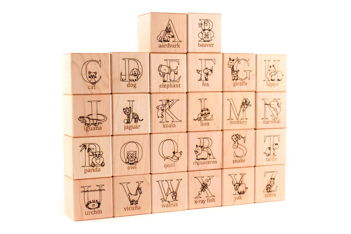 handmade natural wooden blocks with animal pictures