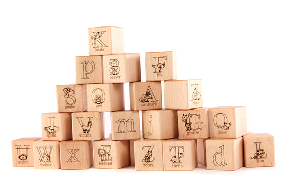 animal alphabet natural wooden blocks
