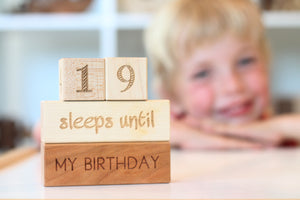 wooden number blocks to countdown birthday and Christmas