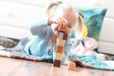 organic non toxic wooden letter name blocks
