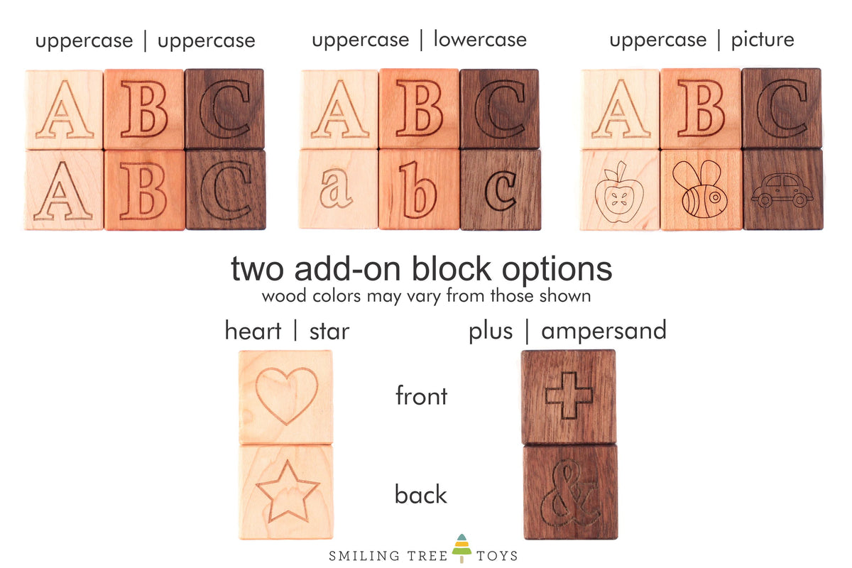 handmade wooden letter blocks made in the USA