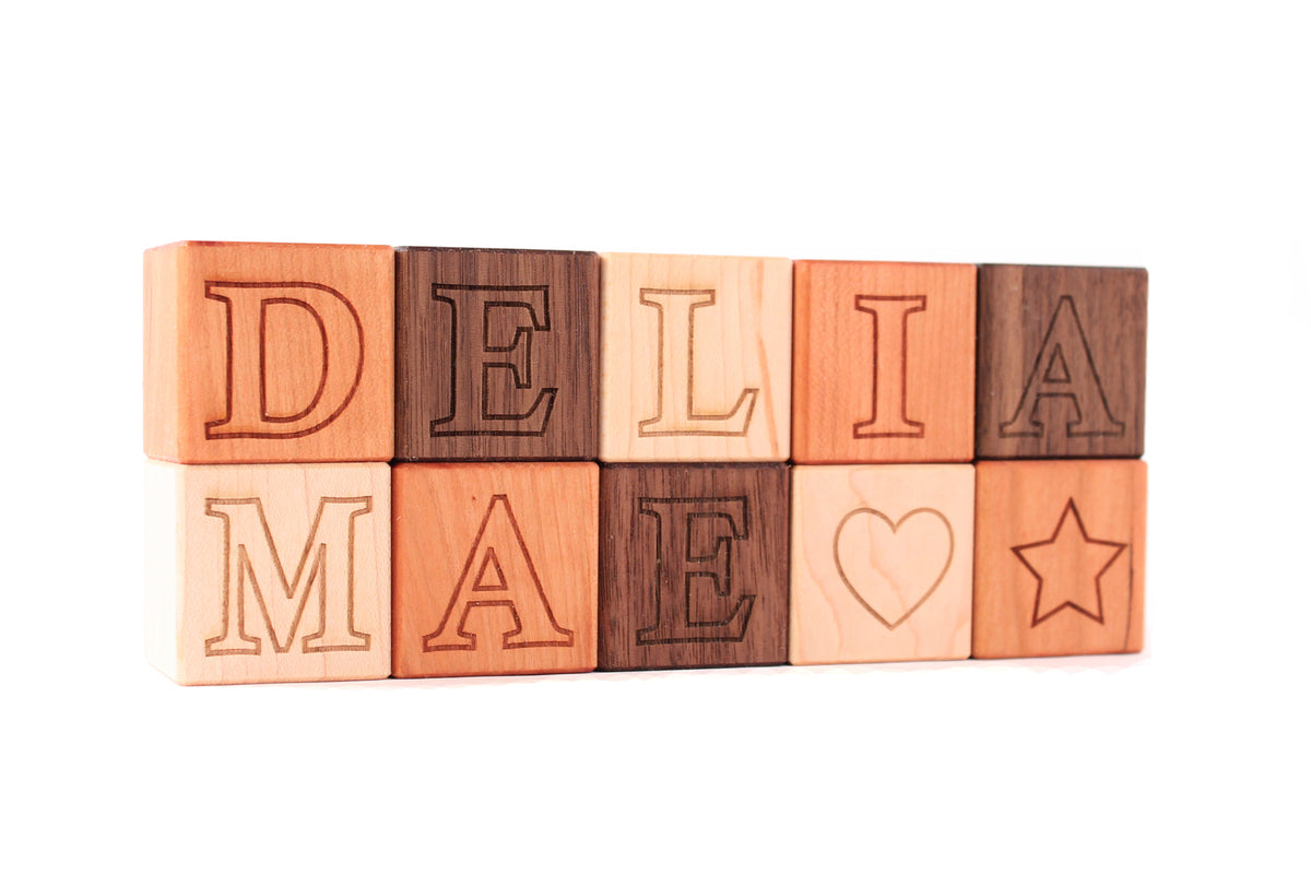 personalized wooden name blocks for children