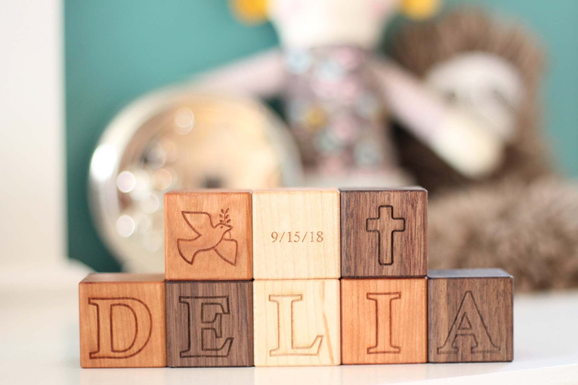 wood blocks for baby baptism gift