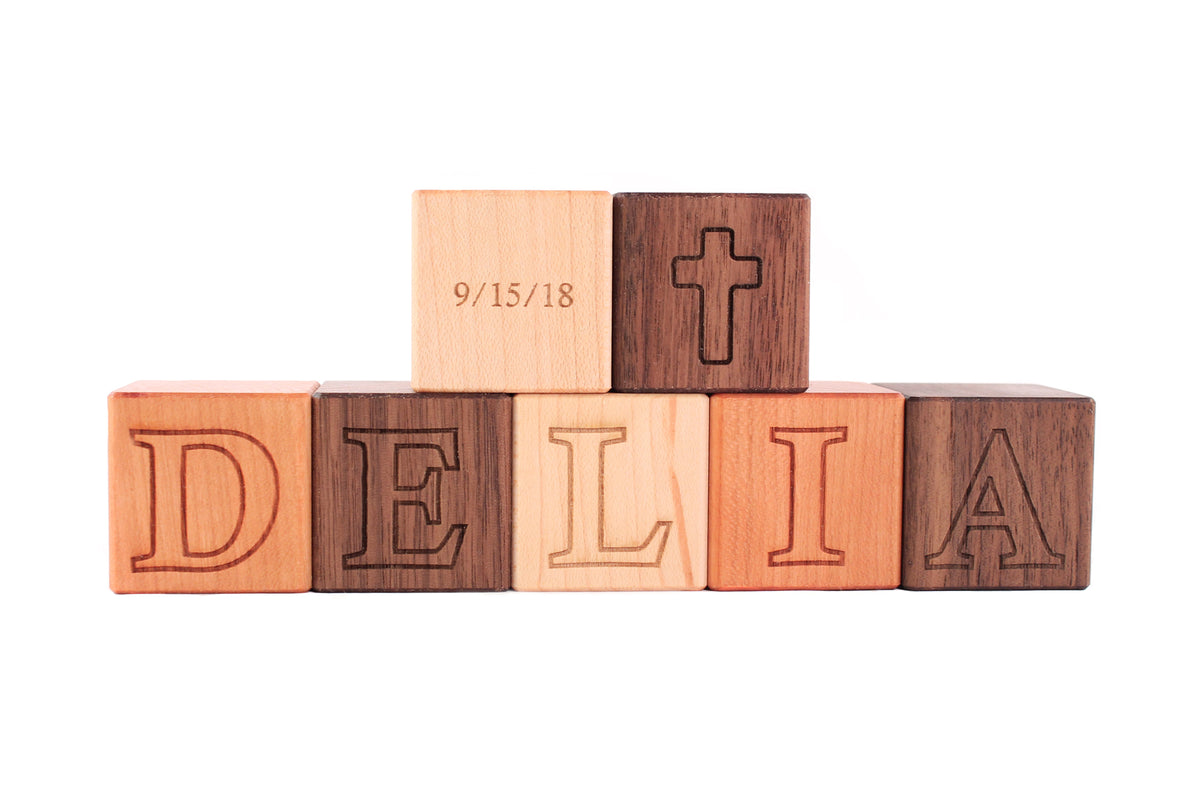 personalized natural wooden baby blocks for baptism gift