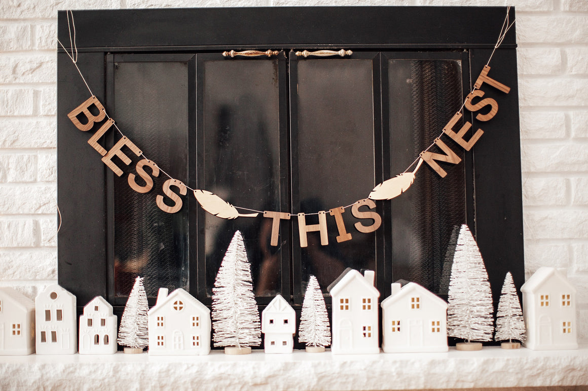 Bless This Nest Wall Banner Decor Bunting Wooden Decorative