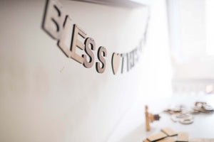 Bless this Mess wooden wall hanging, bunting home decor