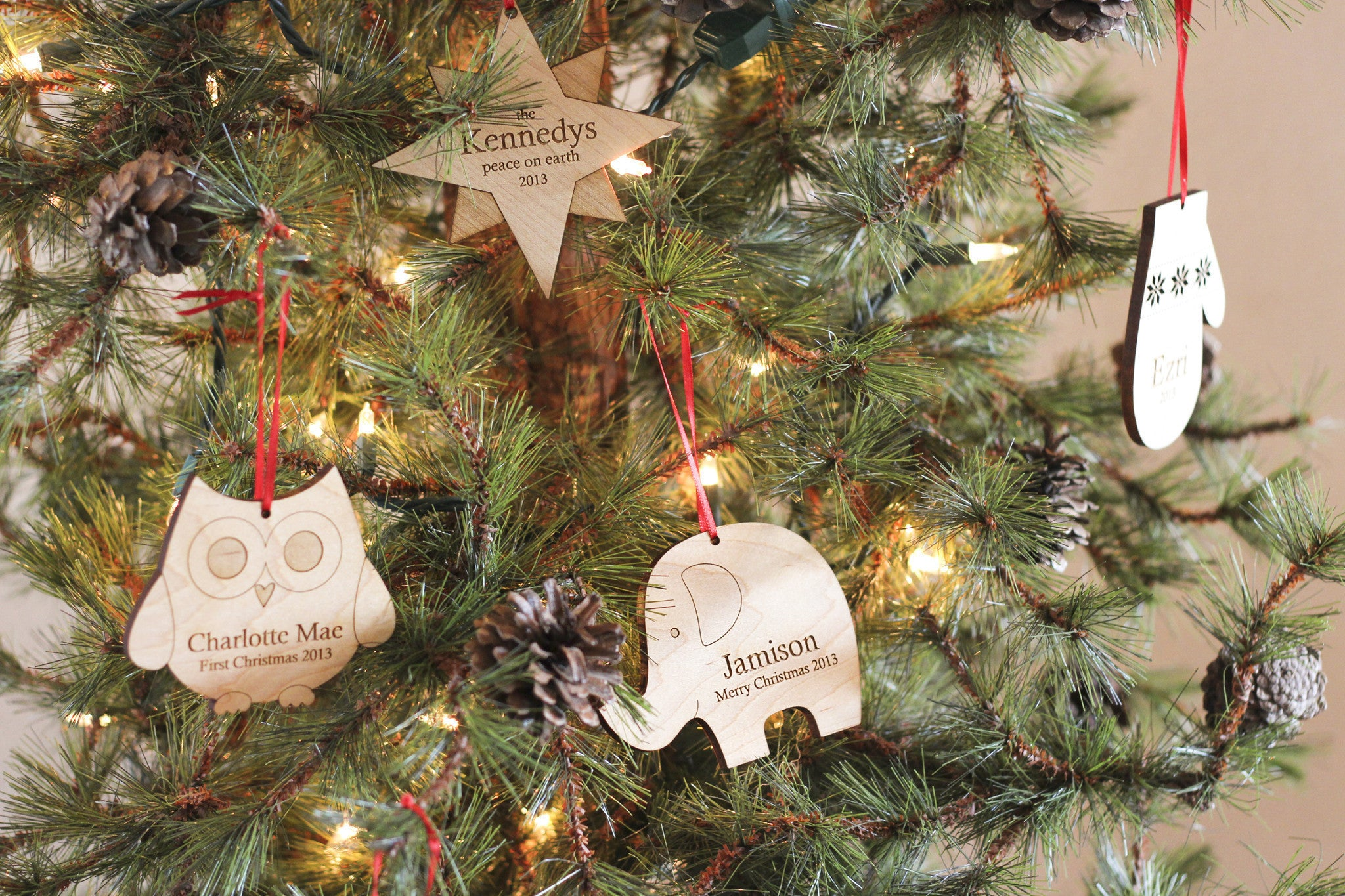 Personalized Christmas Tree Wooden Ornament