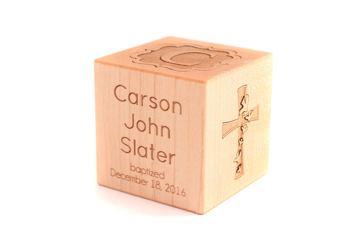 personalized keepsake baby baptism block