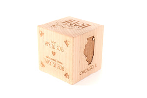 adopted child wooden block gift