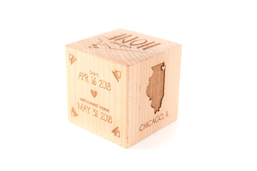 personalized baby adoption gift block