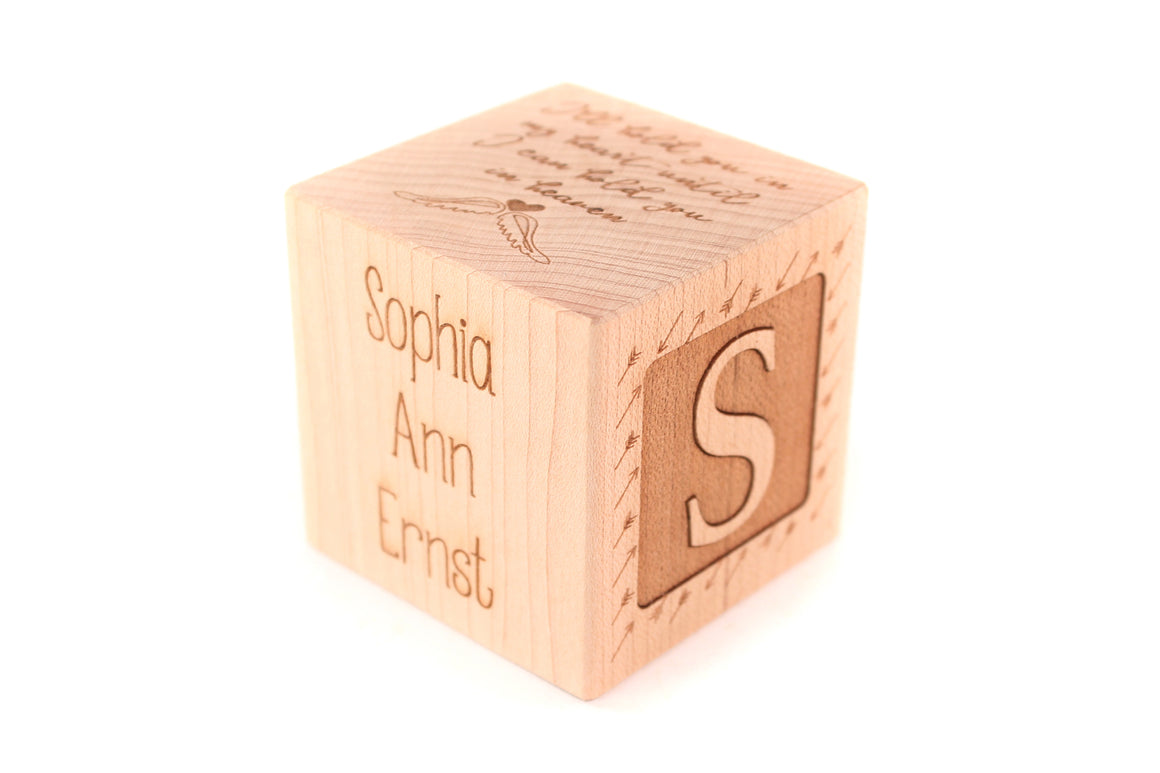 baby memorial wooden block or cube