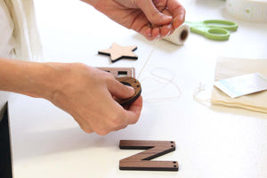 wood alphabet letter name buntings