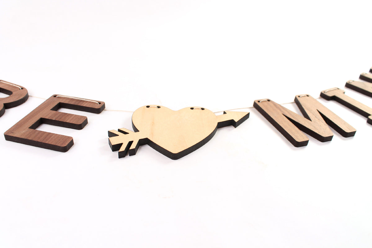 handmade unique Valentine's Day wall hanging, wooden letter bunting