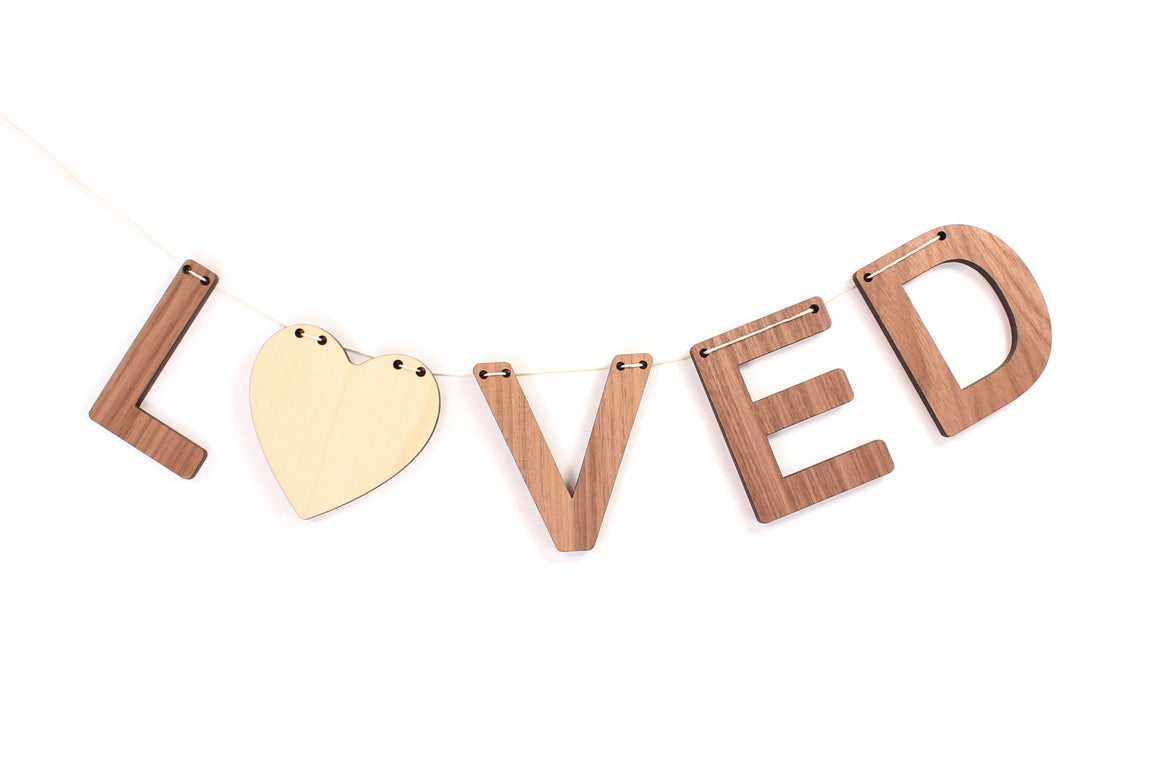 Loved wooden bunting wall hanging