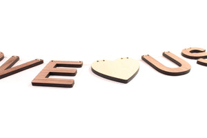 wooden letters I love Us wall hanging