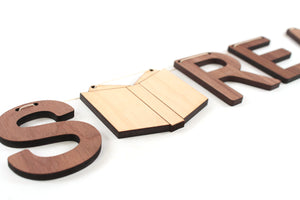 book nook decorating idea - Lets Read wooden letter banner