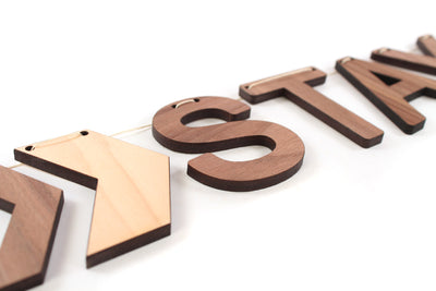 Stay Awhile wooden sign bunting