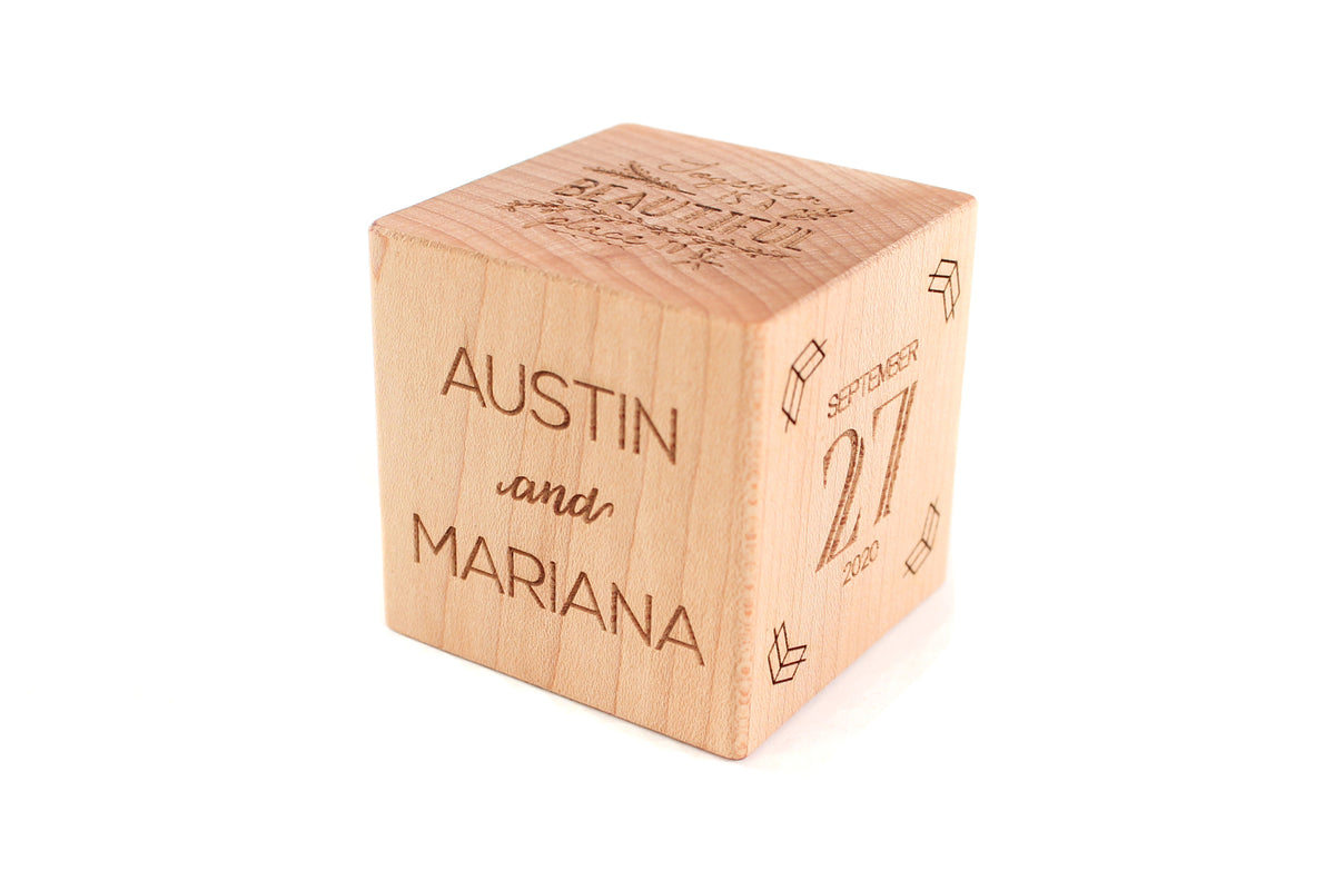 unique personalized wooden wedding keepsake block