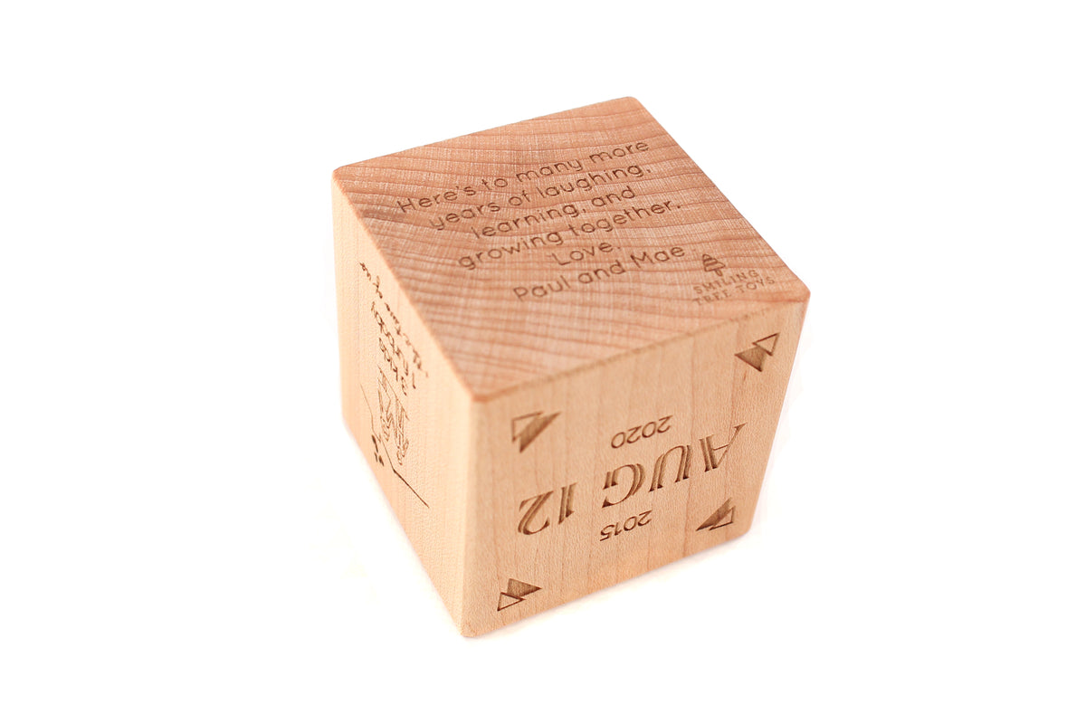 wooden anniversary block fifth year gift