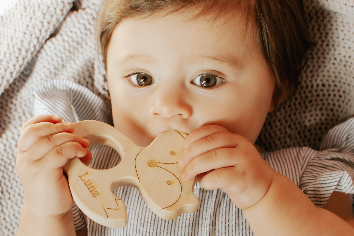 natural wooden teether toy for teething baby personalized keepsake