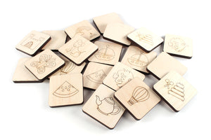 handmade wooden toys, picture memory match tile game