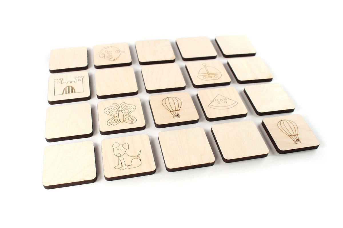 wooden memory matching game for children