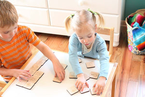 wooden childrens memory matching game