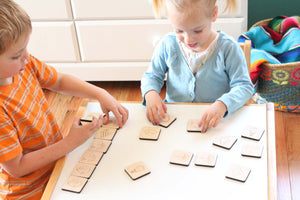 wood tiles educational memory matching game