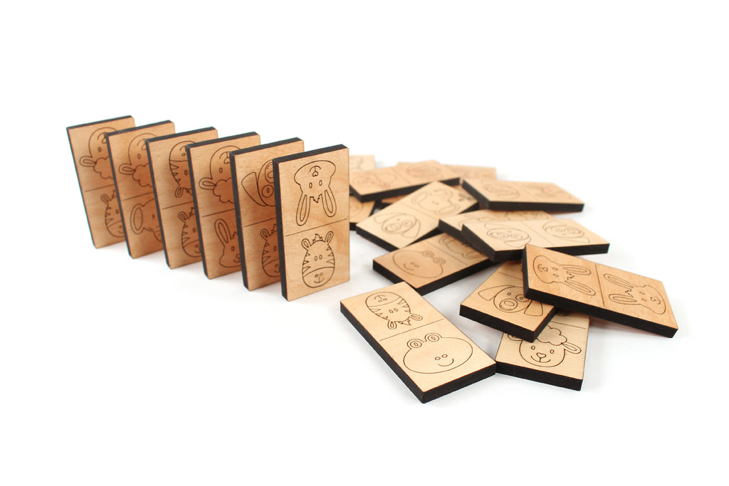 kids handmade wood dominoes set