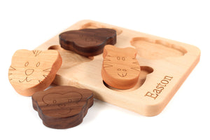 personalized natural wooden toy puzzle