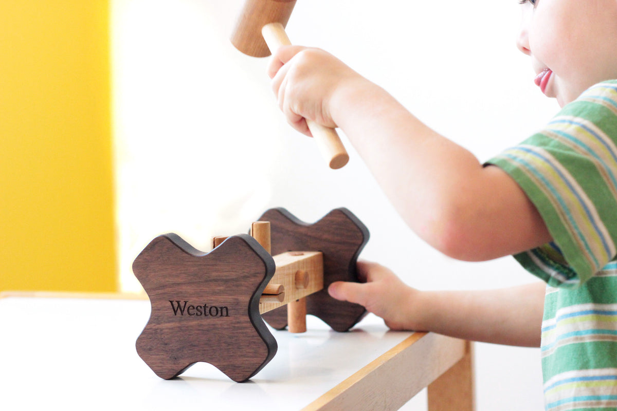 wooden hammer and peg toy for toddlers