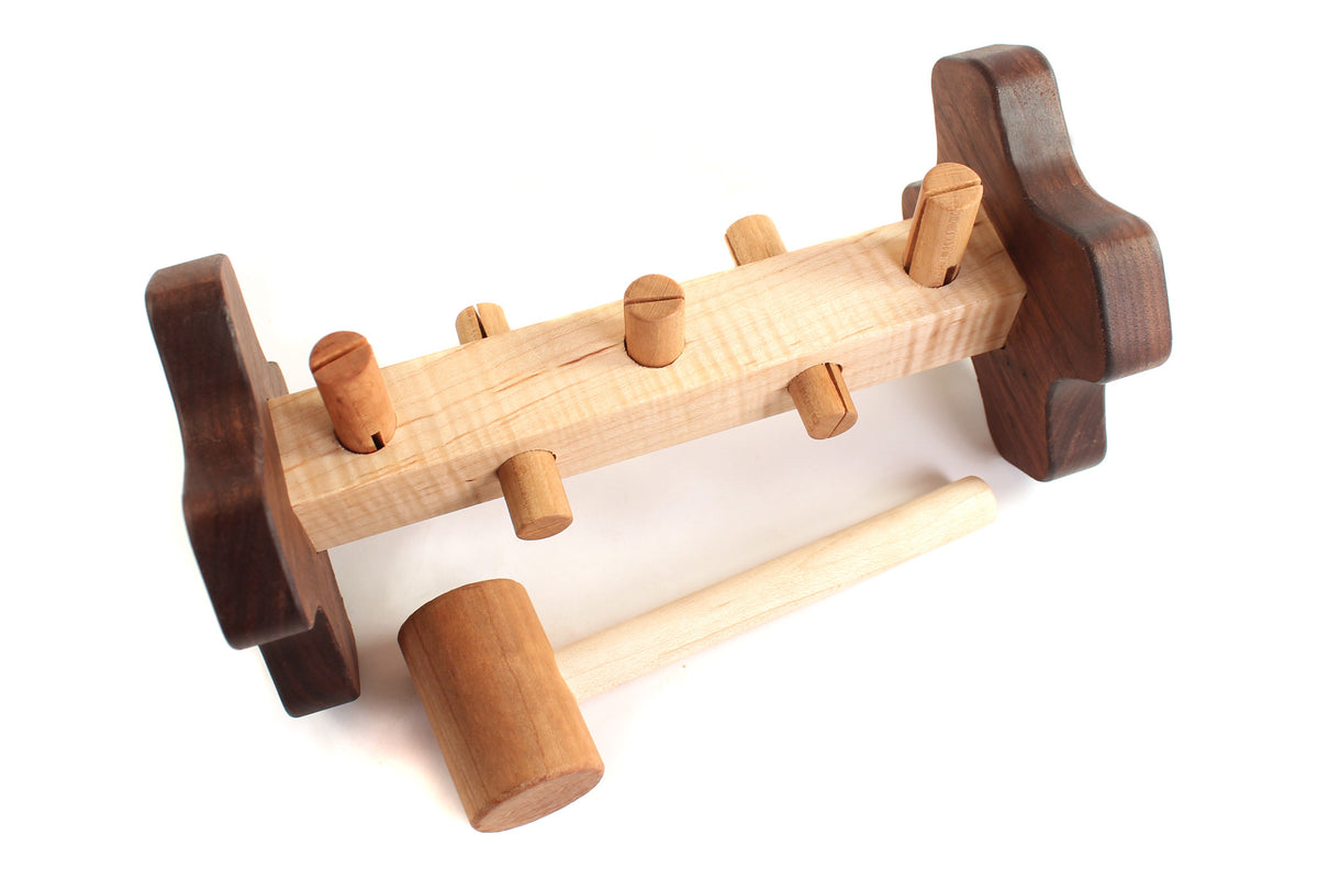 non toxic wooden toy peg pounder handmade USA